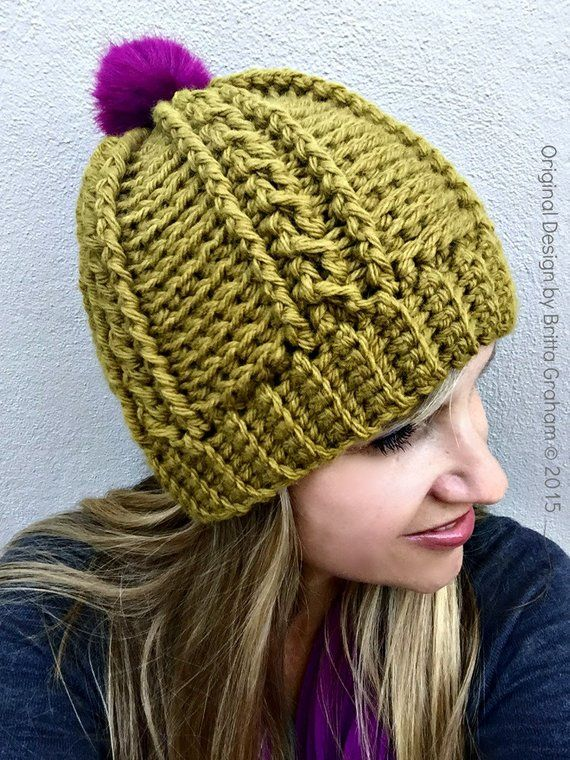 fc2b25a2c90 Easy Peasy Chunky Hat Pattern for Ladies - Crochet Cable Beanie Pattern  No.250 Digital Download Eng