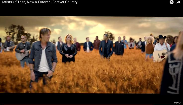 "Artists Of Then, Now & Forever - Forever Country In celebration of ""The 50th Annual CMA Awards,"" CMA has created the biggest music video in Country Music history. Titled ""Forever Country,"" the single and accompanying music video features 30 CMA Award-winning acts. This single was produced by CMA Board member and CMA Award winner Shane McAnally and the video was directed by Grammy Award-winning director Joseph Kahn"
