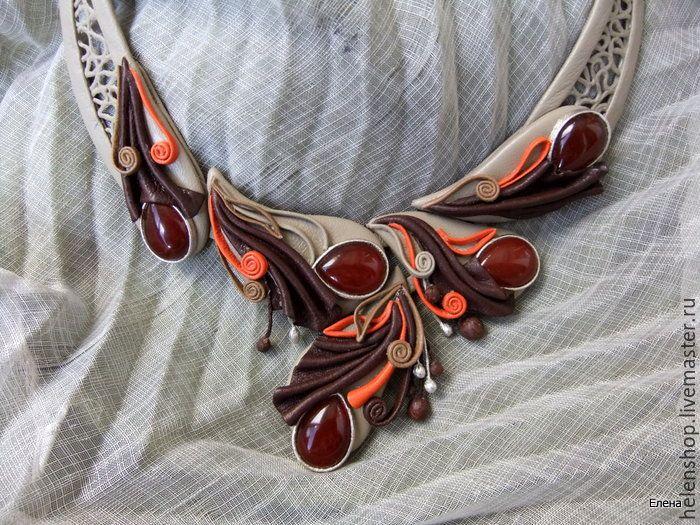 """Купить Колье """"Сандал"""" - коричневый, колье с камнями, украшения из кожи, авторские украшения, натуральная кожа"""