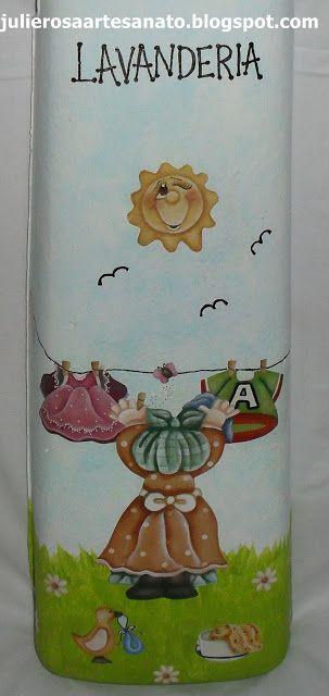 Ateliê Juli&Rosa, Artesanatos, Lembrancinhas e Cia: Telha decorada - lavanderia