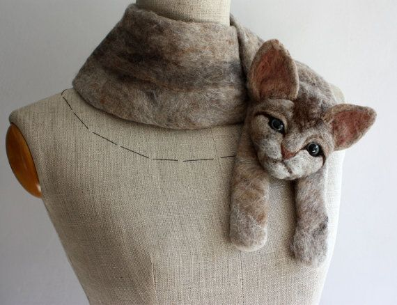 Cat felted wool animal scarf by celapiu on Etsy