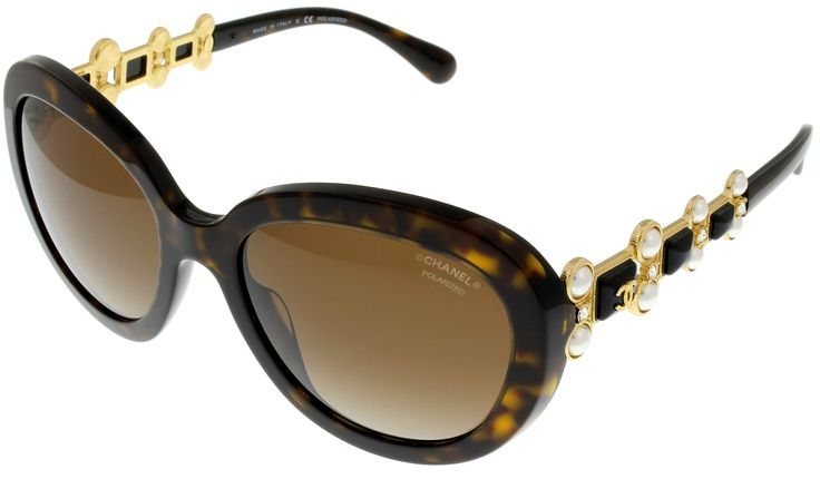 Chanel Bijou Sunglasses Oval Women Tortoise Pearls Polarized CH5334 HB 714S9. Frame Color: Tortoise/Pearl with Brown,Crystal Stoned Temples. Lens Color: Brown Gradient Polarized. Gender: Womens. Case Included. Made in: Italy.
