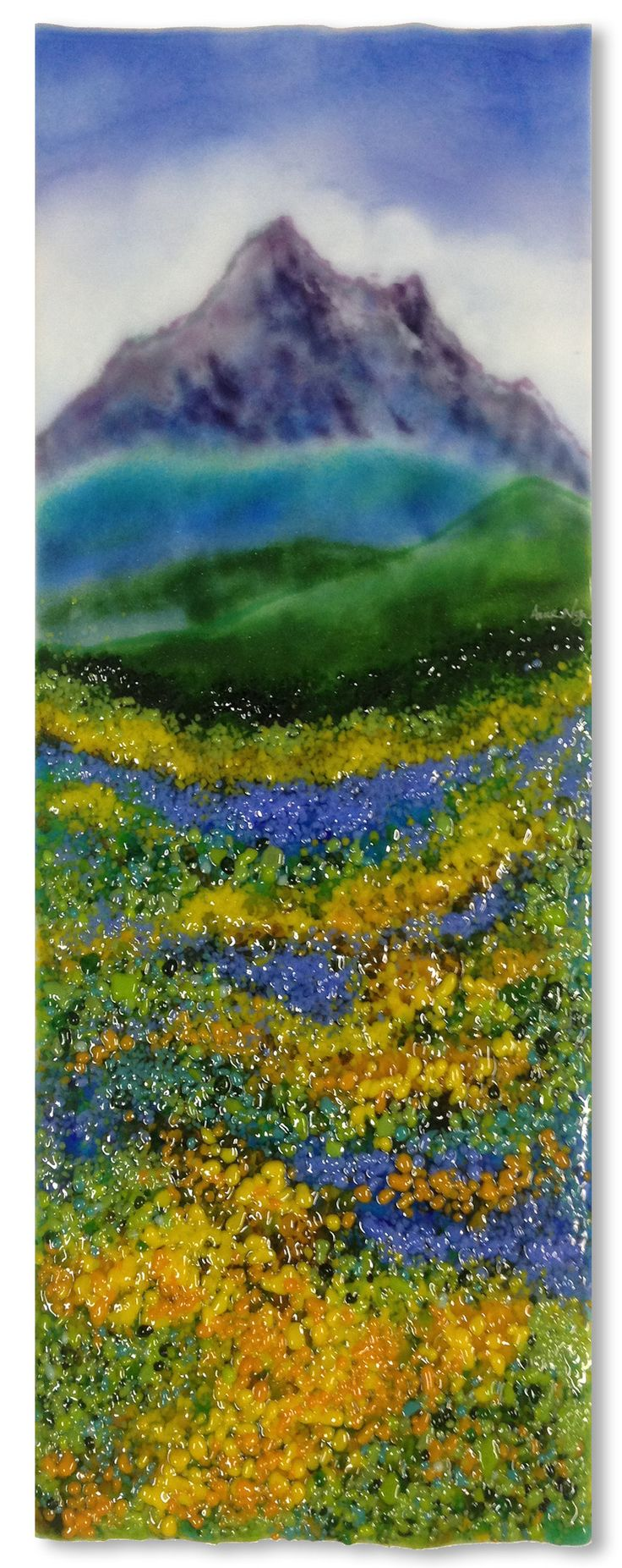 Row of beach huts curved fused glass table clock - Mountain Meadow By Anne Nye Art Glass Wall Sculpture