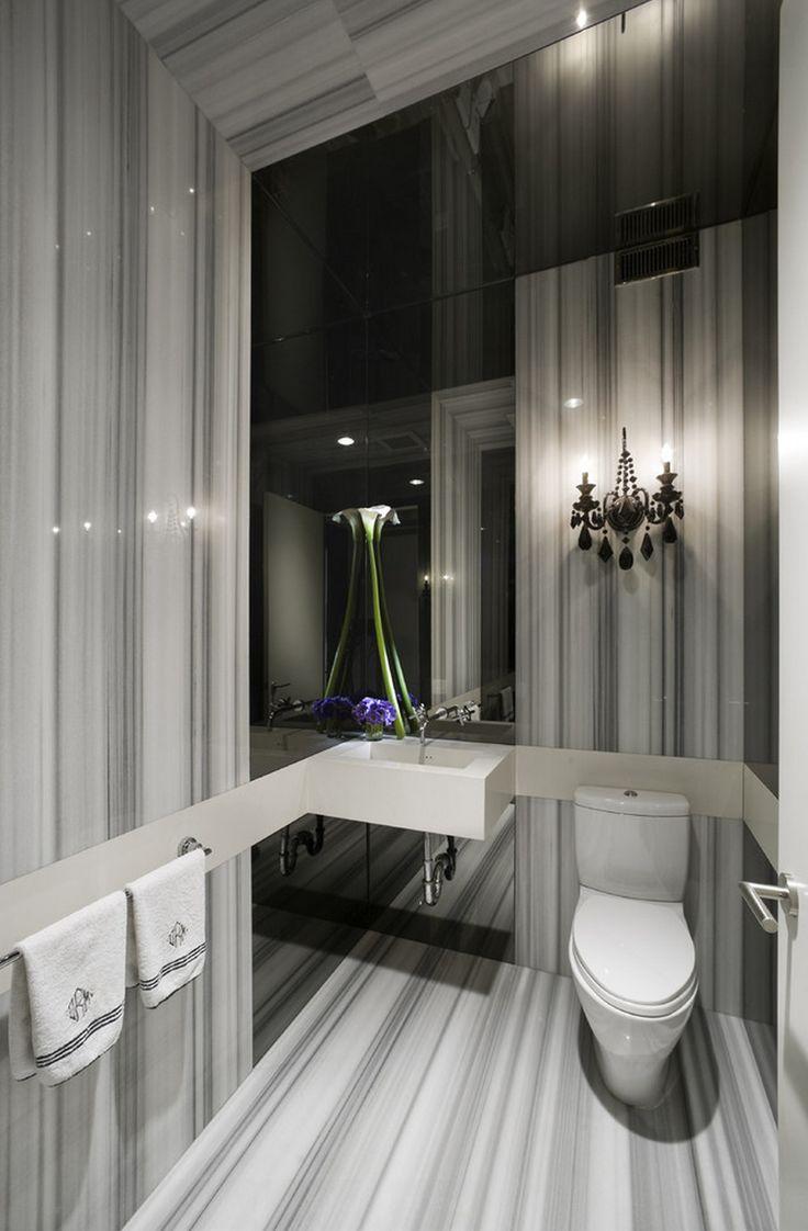 Stupendous Black Mirror Decorating Ideas For Gorgeous Powder Room Contemporary Design Ideas With Black Mirror Backsplash Black Wall Sconce Gray Striped