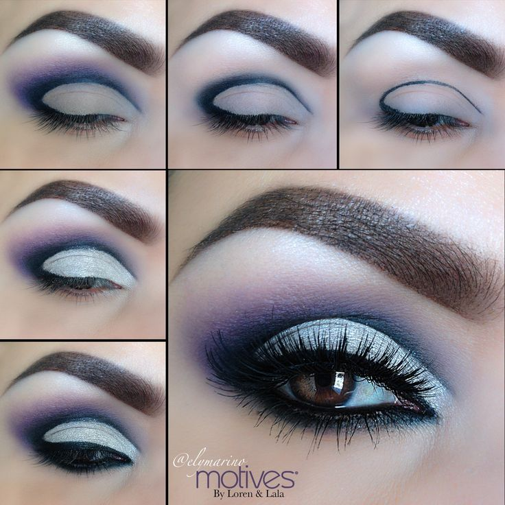 #elymarino #motivescosmetics 1.Use Khol Eyeliner in black to map out your cut crease 2.Apply Onyx eyeshadow to help blend 3.Using the purple from the Fall/Winter 2012 collection blend out the black shadow 4.Using Breaking Dawn  eyeshadow blend the darker Purple even further to soften 5.Apply Pearl Eyeshadow on entire lid staying underneath crease 6.Apply little black Dress gel liner Add mascara, Lashes and your done!