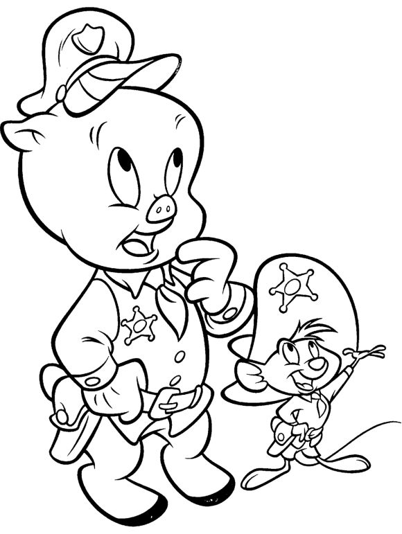 Looney Tunes Characters Porky Pig Into Police Looney