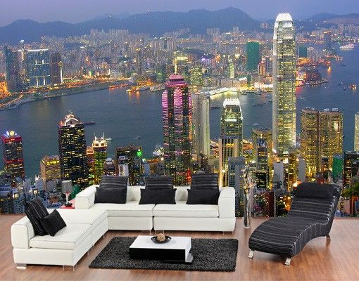 Selbstklebende Design Tapete : Selbstklebende #Tapete – Fototapete #Hongkong Skyline #bigcitylife #