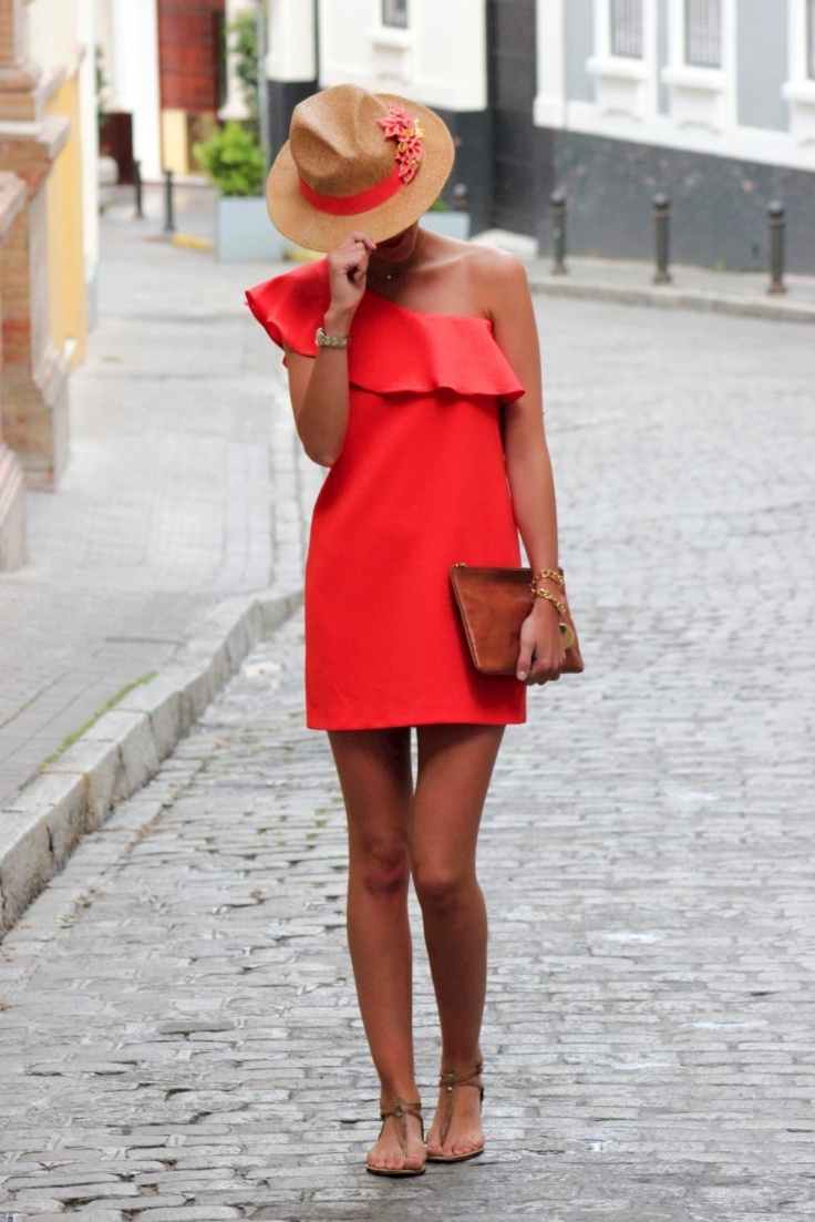 Bright red dress + fedora + leather clutch