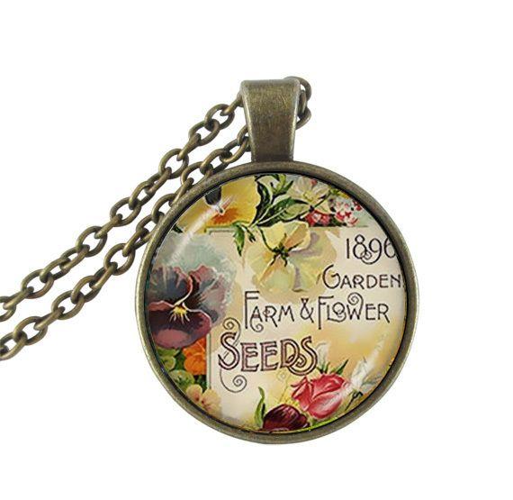 Цветок ожерелье женские аксессуары цветок письмо ювелирные изделия из стекла кабошон античная бронзовая подвеска цепи ожерелье любовника подарки