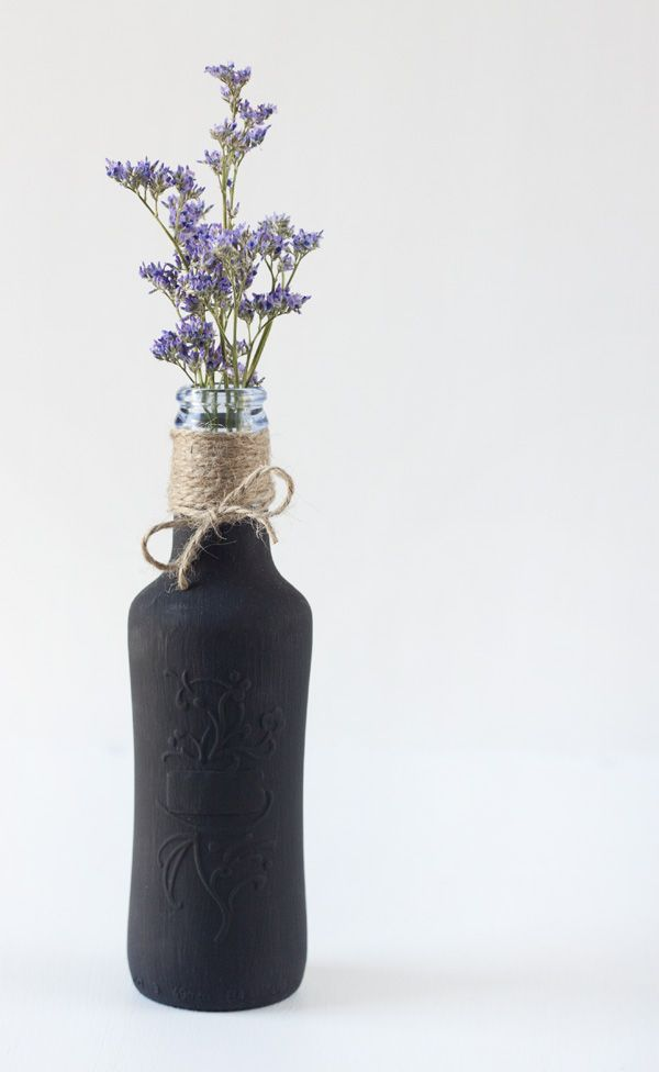 Botella reciclada con pintura pizarra/ Chalk paint recycled bottle