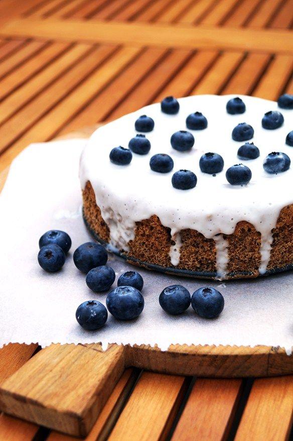 bosbessen taart glutenvrij met suikervrij glazuur