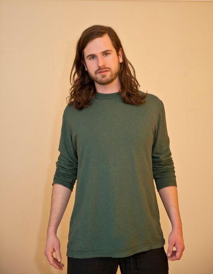 Men's Long Sleeve shirt #hemp #men #green