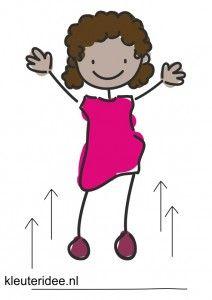 Bewegingskaart voor kleuters, springen op je plaats, kleuteridee.nl, free printable moving cards for preschool
