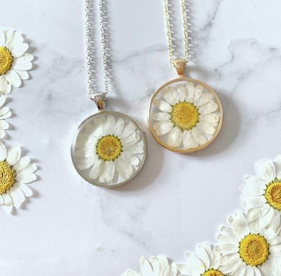 Bohemian Style Jewellery. Pendant Necklace With Sterling Silver Chain And Thin Bangle Bracelet Yellow Flower Resin Jewelry Set M size
