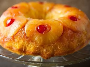 PINEAPPLE UPSIDE DOWN BUNDT CAKE~ 2 tbsp butter melted, ¼ cup packed brown sugar, 6 pineapple slices (from 20 oz can) drained reserving juice, 6 maraschino cherries, 1 box Betty Crocker® SuperMoist® yellow cake mix, 1 cup reserved pineapple juice (from can of pineapple), ½ cup vegetable oil, 3 eggs.