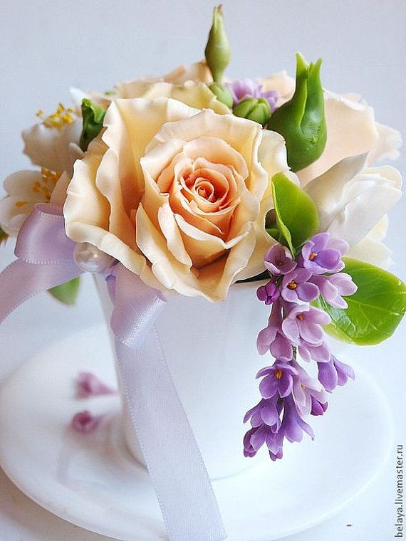 Copia, tazza con fiori, porcellana fredda, composizione floreale, piccolo bouquet, fiori argilla, decorazione camera da letto, bouquet rosa, Lilla, Fresia