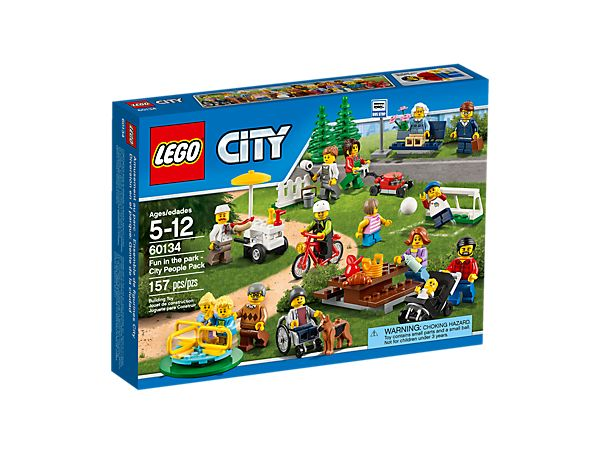 Spend a great day in the park with some LEGO® City residents, with playground equipment, picnic table, park bench, hot dog cart, 14 minifigures, and baby and dog figures.