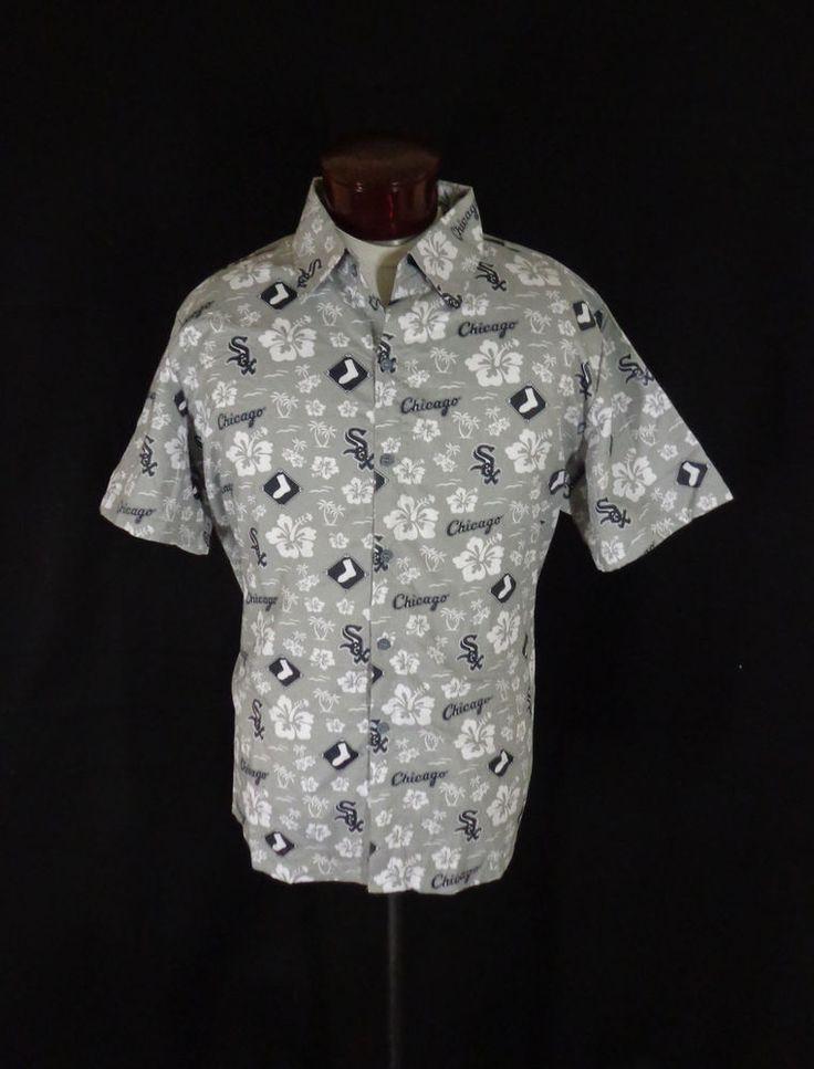 Chicago White Sox Gray Cotton Beggars Pizza Promotional Hawaiian Aloha Shirt  XL #BeggarsPizza #ChicagoWhiteSox