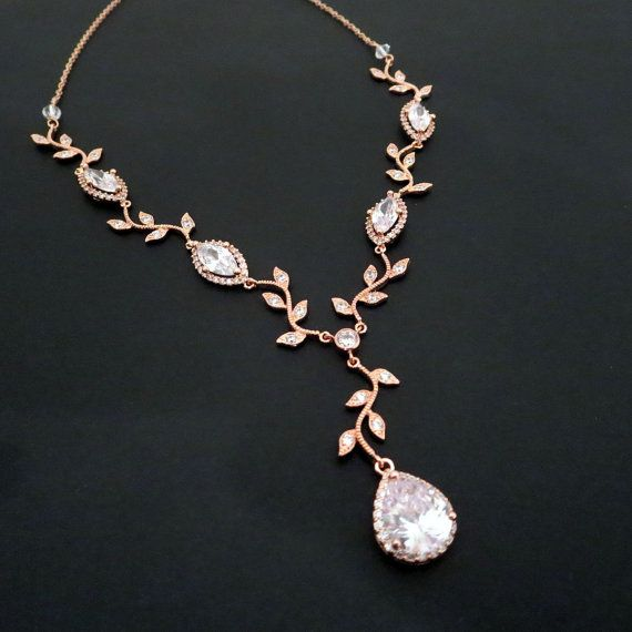 Bridal Necklace Rose Gold Jewelry Wedding Crystal By On Etsy