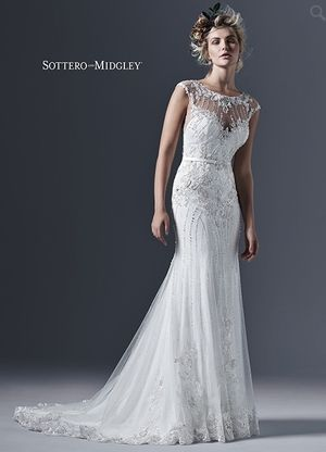 Illusion Sheath Wedding Dress With Natural Waist In Tulle Bridal Gown Style Number33233602