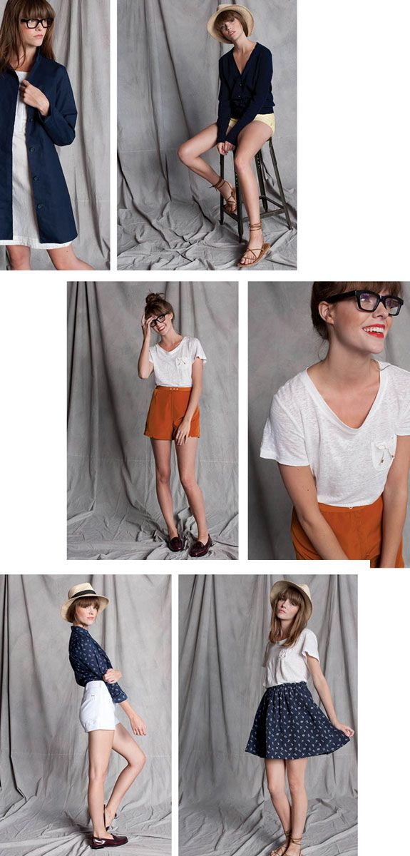 [-Top right-] Pale yellow shorts, strappy sandals, loose black top