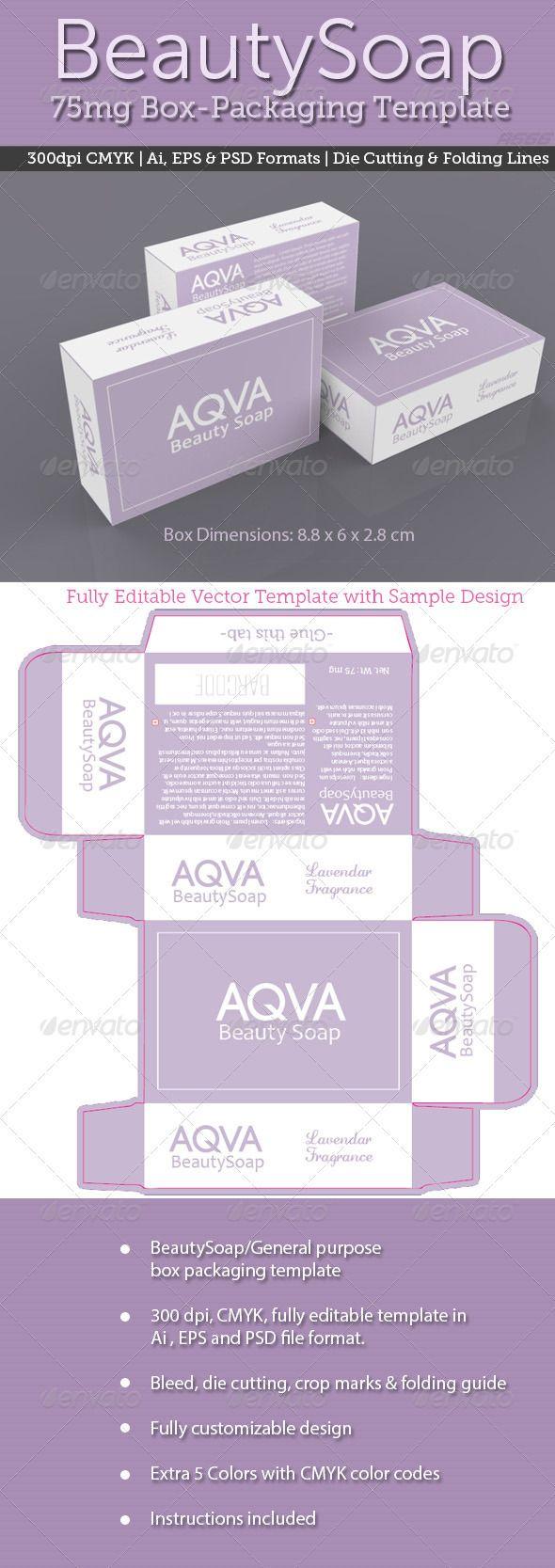 BeautySoap Box Packaging Template - Packaging Print Templates