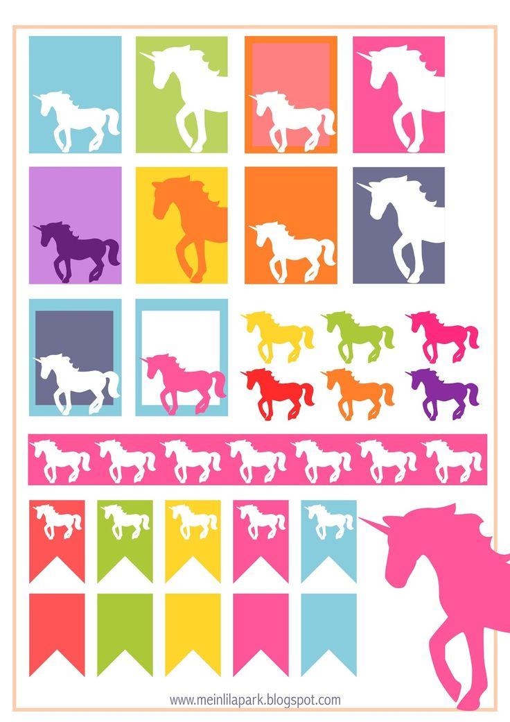 MeinLilaPark – DIY printables and downloads: Free printable unicorn planner stickers - ausdruckbare Etiketten - freebie                                                                                                                                                     Mehr