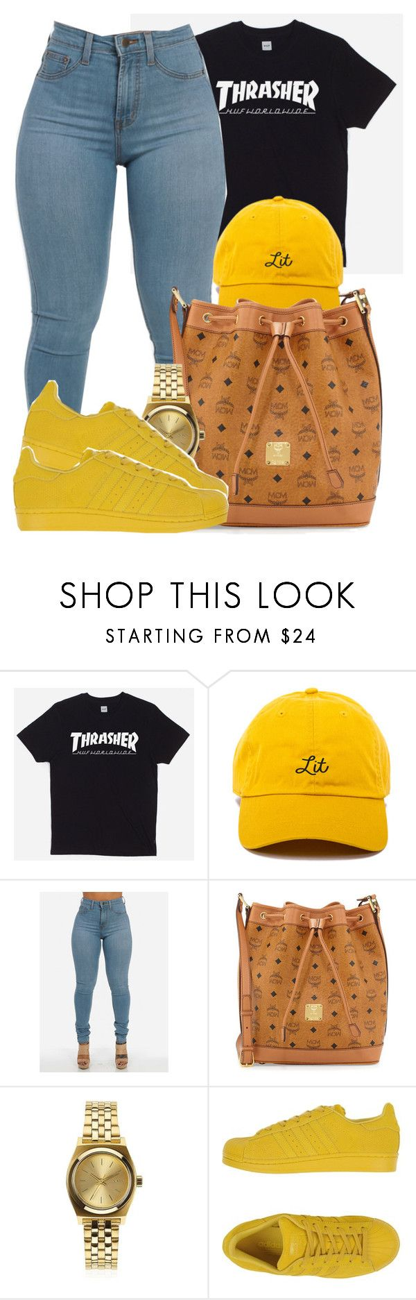 """Thrasher X MCM"" by bria-myell ❤ liked on Polyvore featuring HUF, MCM, Nixon and adidas Originals"