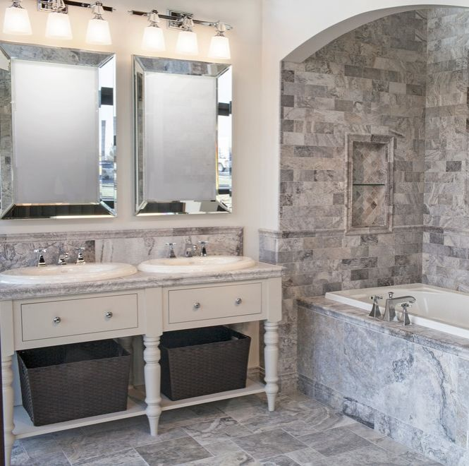Here Is One Of Customeru0027s Bathroom With Our Silver Travertine