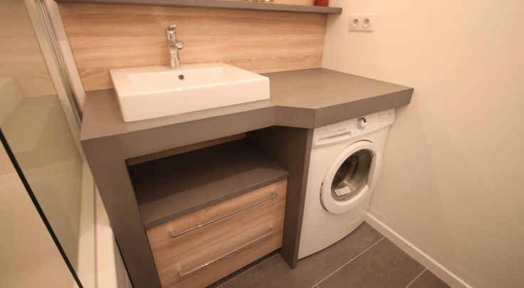 J'adore cette photo de @decofr ! Et vous ? (Source : http://www.deco.fr/photos/diaporama-petite-salle-bains-comment-integrer-lave-linge-d_4433)