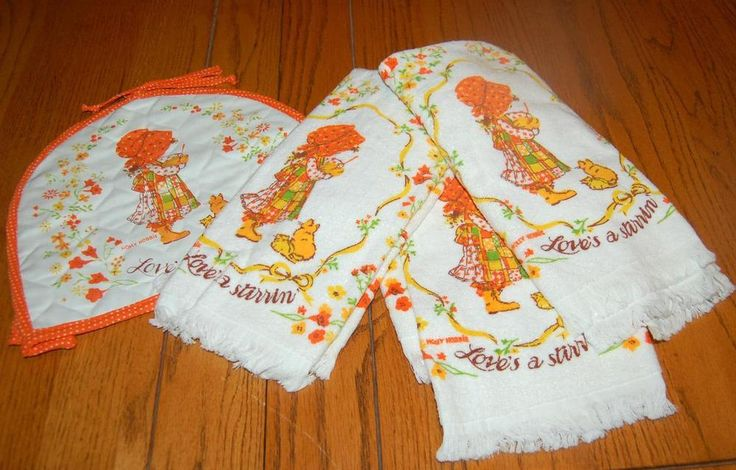 Vintage Holly Hobbie Kitchen Terry Towels & Toaster Cover NEW UNUSED 4pc set #wamsutta #Towels