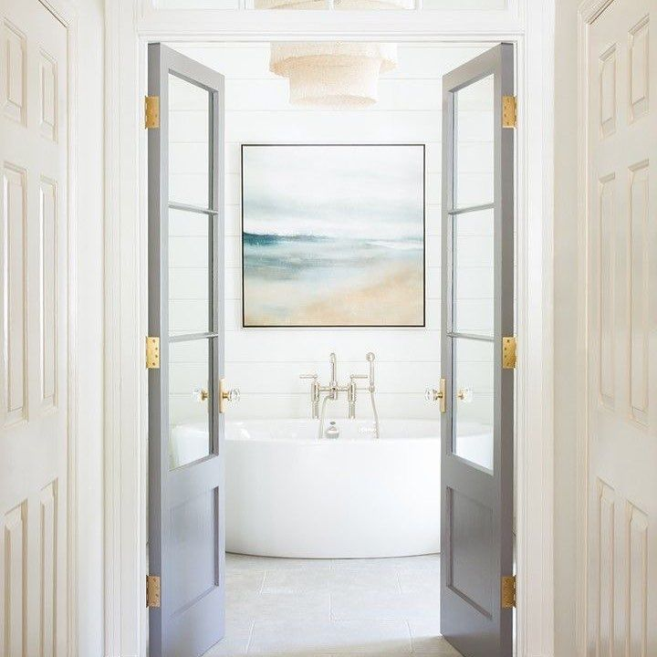 Nothing Like A Stunning Double Door Into This Gorgeous Bathroom We Love The Gray With B Bathroom Inspiration Decor Bathroom Design Bathroom Inspiration Modern