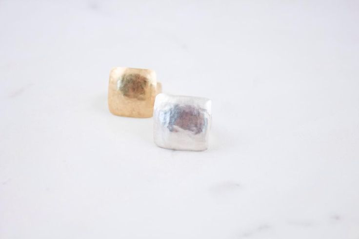 Silver or gold squared hammered ring