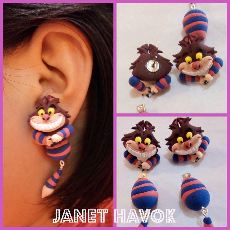 Aretes de Gato Rison!! Cheshire Cat Earrings!! Alice in wonderland Cat Earrings!!
