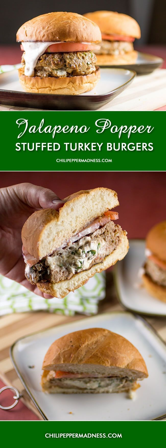 Jalapeno Popper Stuffed Turkey Burgers with Southwest Lime Sauce