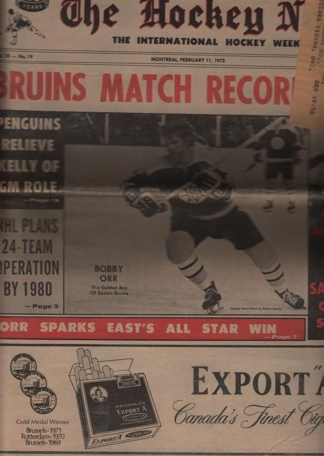 1972-FEB.11, THE HOCKEY NEWS BOBBY ORR ON THE COVER