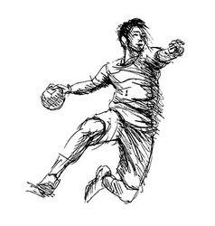 Hand sketch handball players vector