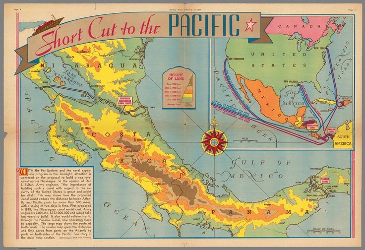 Short cut to the Pacific. This is a map appeared in the February 27, 1938 issue of the American newspaper Sunday News. It's focusing on a proposal to build a sea level canal across Nicaragua. Shows...