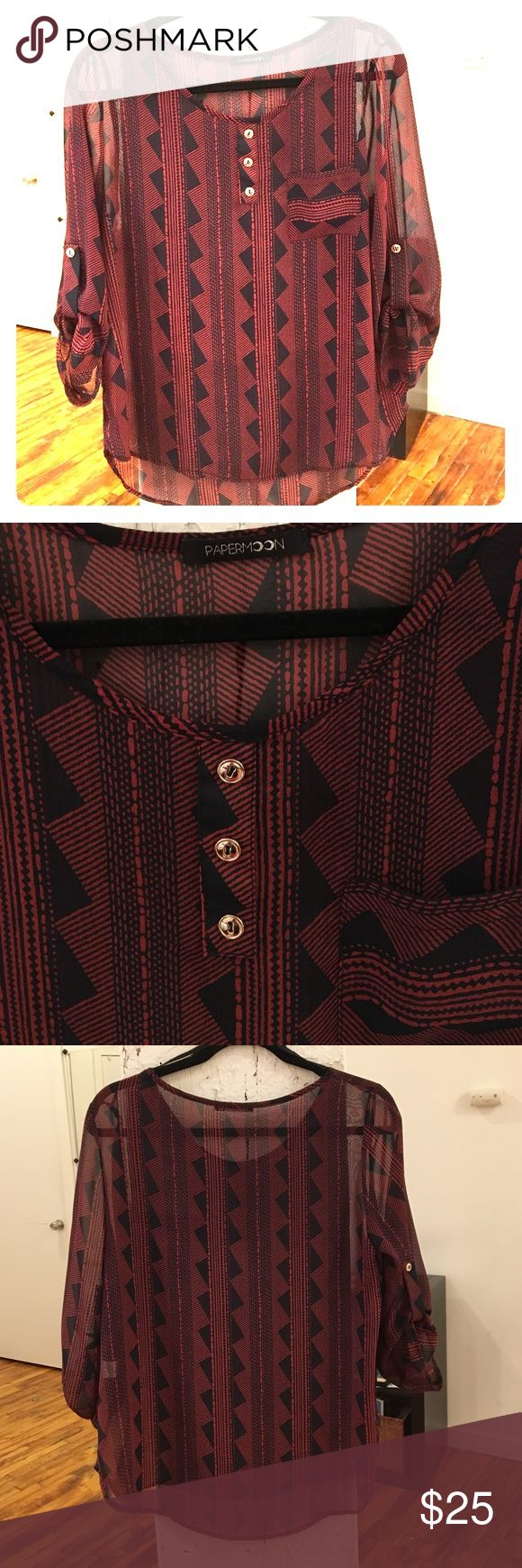 Stitch Fix Papermoon 3/4 Sleeve Aztec Top Sz M Stitch Fix Papermoon 3/4 Sleeve Aztec Top Sz Medium. Does require an undershirt as it is pretty sheer. Front three buttons do not come undone. Front pocket. Black and red Aztec print. Papermoon Tops