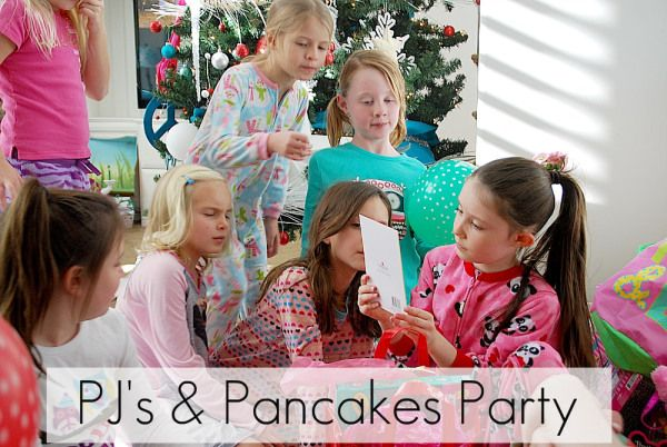 Great Birthday party idea! PJ's & Pancakes Party! Serve pancakes and have a hot chocolate bar. Great idea for winter birthdays! -- Tatertots and Jello #DIY #parties