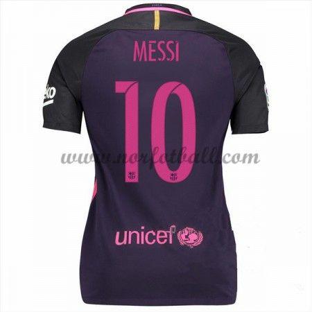 Draktsett Fotball Barcelona 2016-17 Messi 10 Dame Borte Fotballdrakter Kortermet