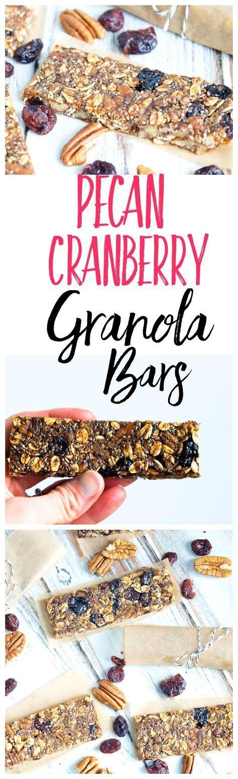 Pecan Cranberry Granola Bar Recipe--These healthy homemade granola bars are super easy to make and taste like pecan pie!! The best!! #healthysnacks #homemadegranolabars