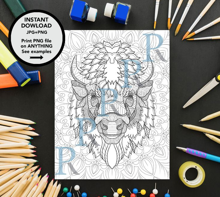 Excited to share the latest addition to my #etsy shop: Bison Art, Bison Coloring Page, Adults Coloring Page, Buffalo Print, Bison Poster, Bison Gift, Zentangle Art, Kids Creativity, Ant Stress http://etsy.me/2mWvJnm #art #drawing #bisonart #bisoncoloringpage #adultscol