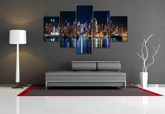 Precioso cuadro EN LIENZO el cuadro de 5 piezas - totalmente nuevo precintado - LA MEJOR CALIDAD con la medida total 200 cm de ancho 100 cm largo. el