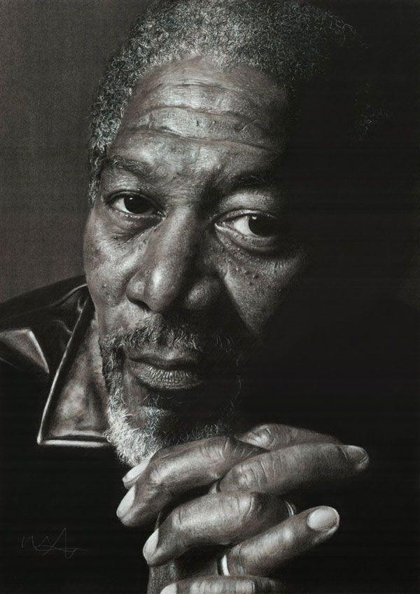 A Showcase of Amazing, Photo Realistic Pencil Drawings - Morgan Freeman