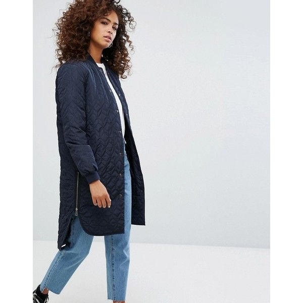 Noisy May Quilted Longline Bomber Jacket (1,690 MXN) ❤ liked on Polyvore featuring outerwear, jackets, navy, zip bomber jacket, quilted jacket, patterned bomber jacket, quilted bomber jackets and floral-print bomber jackets