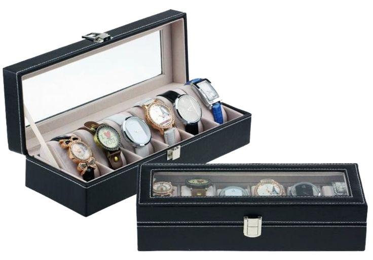 Estojo Porta Caixa Organizador Pespontado Luxo P/ 6 Relógios - R$ 65,98