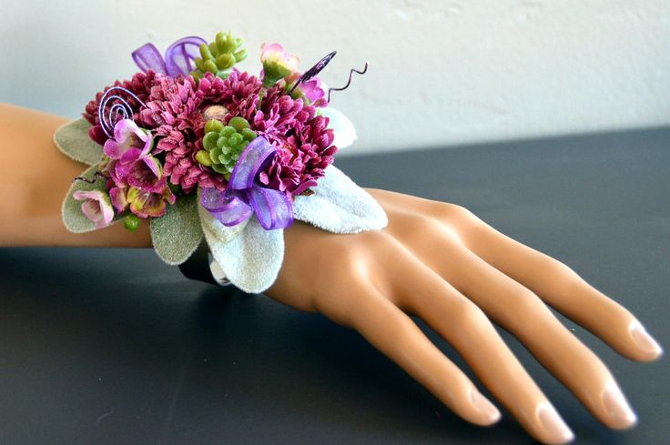 Wrist corsage and boutonniere set;prom;formal;succulent;purple;bracelet;artificial;faux;silk;rhinestone;wire;wax flower;lambs ear;adjustable by BumblebeeAndThistle on Etsy
