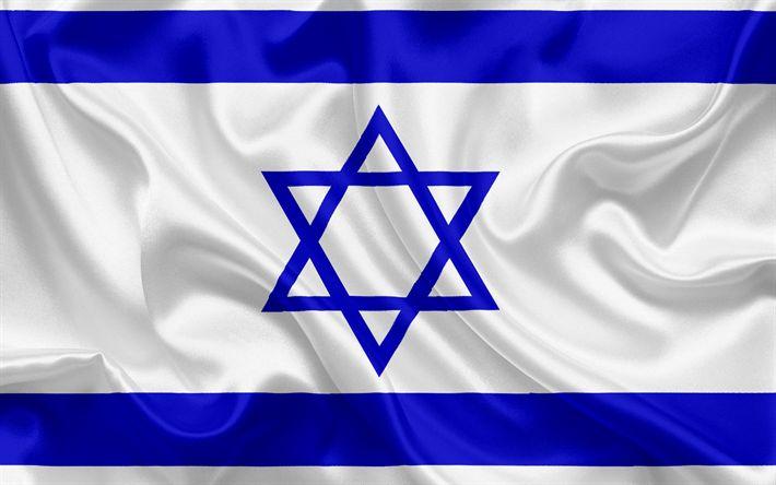Descargar fondos de pantalla Bandera de israel, Israel, Oriente, bandera de Israel, los símbolos nacionales, la bandera de seda, la Estrella de David