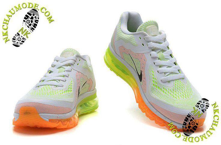 chaussure femme nike montante Air Max 2014 Blanc/Orange/Jaune